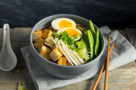 Homemade Japanse Veganistof Tofu Ramen Noedels Met Ei En Champignons