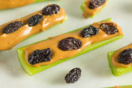 Homemade Ants on a Log Snack with Celery Peanut Butter and Raisins Stock Photo