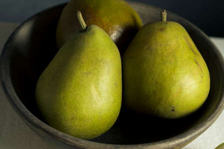 Raw Green Organic Seckel Pears Ready to Eat Stock Photo