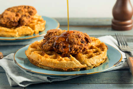 Homemade Southern Chicken and Waffles with Syrup
