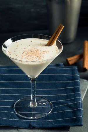 Homemade Creamy Eggnog Cinnamon Dessert Martini with Nutmeg