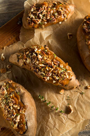 Homemade Twice Baked Sweet Potatoes with Butter Pecans and Herbs