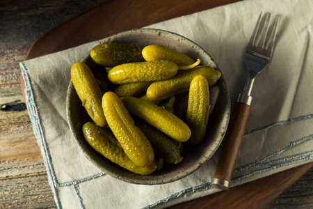 Pickled Organic Cornichon Gherkin Pickles with Dill and Spices