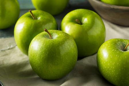 Raw Green Organic Granny Smith Apples Ready to Eat Stock Photo