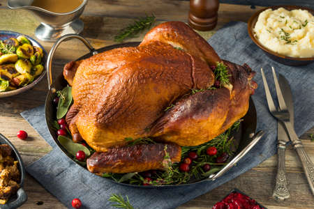 Organic Homemade Smoked Turkey Dinner for Thanksgiving with Sides Stock fotó - 88606677