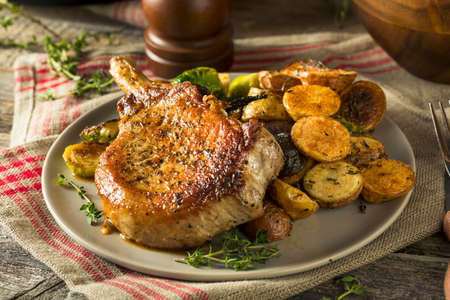 Homemade Roasted Bone in Pork Chop with Herbs and Spices