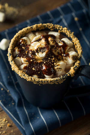 Sweet Homemade Smores Hot Chocolate for the Holidays Stock Photo