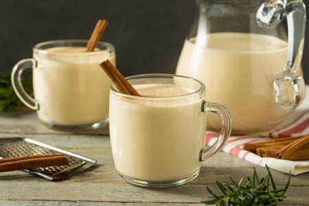 Boozy Warm Eggnog Punch with Cinnamon for Christmas