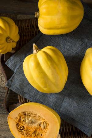 Raw Organic White Yellow Acorn Squash Ready to Cook Stock Photo