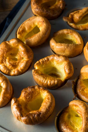 Warm Homemade British Yorkshire Puddings Ready to Eat