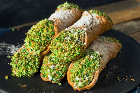Traditional Homemade Sicilian Cannolis with Pistachios