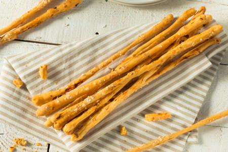 Homemade Italian Grassini Bread Sticks with Sea Salt Stock Photo
