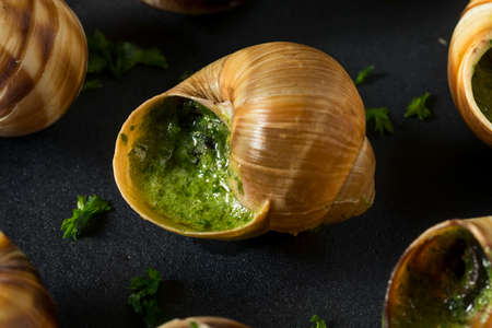 Fancy French Hot Escargot Appetizer with Butter and Garlic