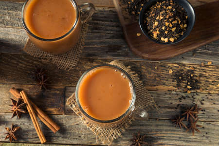 Organic Hot Chai Tea Drink with Milk and Spices 写真素材