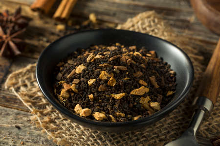 Raw Dry Organic Chai Tea in a Bowl Stock Photo
