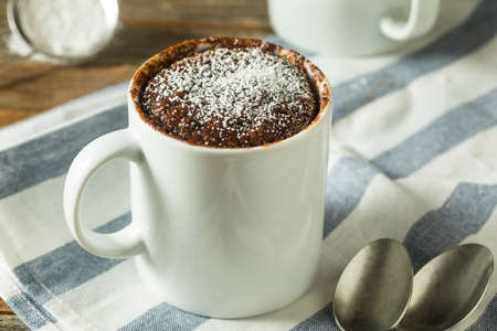 Homemade Microwave Chocolate Mug Brownies with Powdered Sugar Stok Fotoğraf