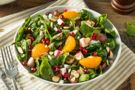 Raw Organic Winter Chard Salad with Oranges Almonds and Apples
