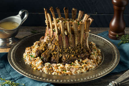Homemade Gourmet Crown of Lamb with Rice Pilaf