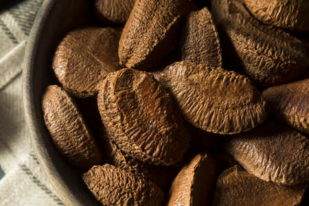 Raw Brown Organic Shelled Brazil Nuts in a Bowl