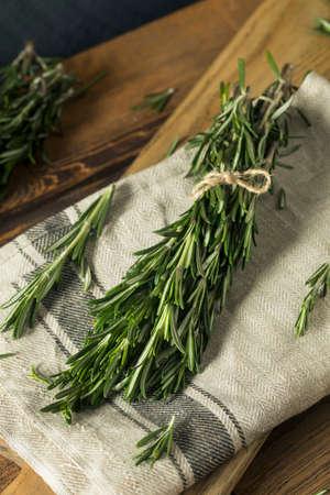 Raw Green Organic Rosemary Herbs Ready to Use Stock Photo