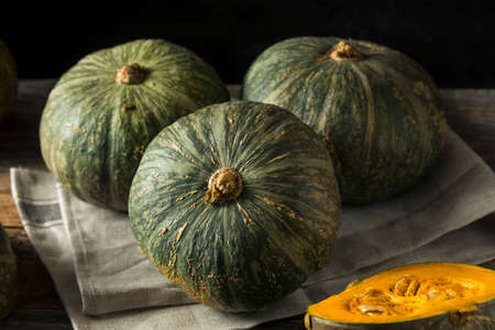 Raw Green Organic Kabocha Squash Ready to Cook Stock Photo