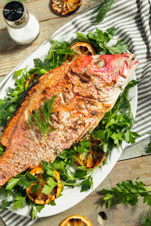 Homemade Grilled Whole Red Snapper with Lemons and Dill