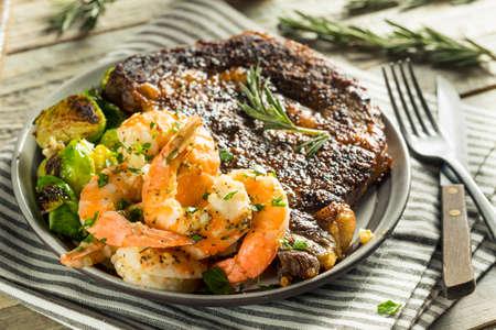 Gourmet Homemade Steak and Shrimp Surf n Turf Stock Photo