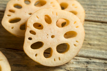 Raw Brown Organic Lotus Root Ready to Cook Stock Photo