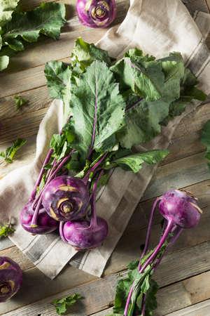 Raw Organic Purple Kohlrabi Ready to Eat