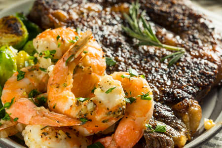 Gourmet Homemade Steak and Shrimp Surf n Turf Stok Fotoğraf