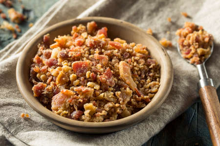 Organic Crumbled Bacon Pieces in a Bowl