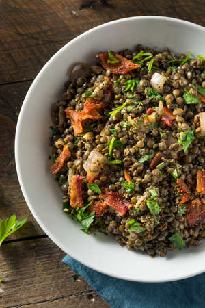 Healthy French Lentil Salad with Bacon and Parsley Stock Photo