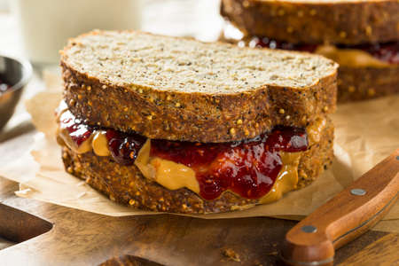 Sweet Homemade Gourmet Peanut Butter and Jelly Sandwich for Lunch