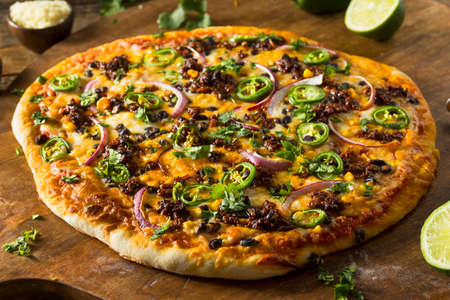 Homemade Spicy Mexican Taco PIzza with Cilantro and Chorizo
