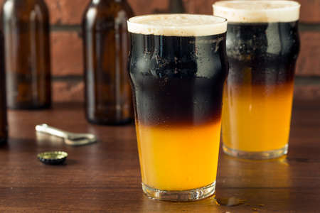 Irish Layered Black and Tan Beer with Lager and Stought Stock Photo