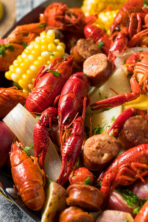 Homemade Southern Crawfish Boil with Potatoes Sausage and Corn