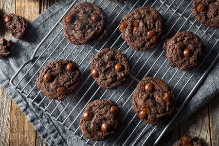 Homemade Dark Double Chocolate Chip Cookies Ready to Eat Stock Photo