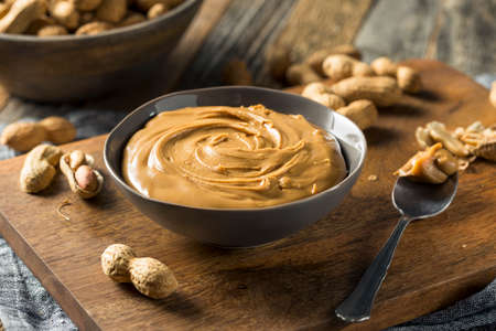 Sweet Organic Natural Creamy Peanut Butter in a Bowl