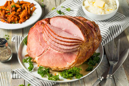Homemade Glazed Easter Spiral Cut Ham with Carrots and Potatoes