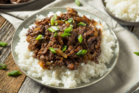 Homemade Barbecue Korean Beef Bulgogi with White Rice