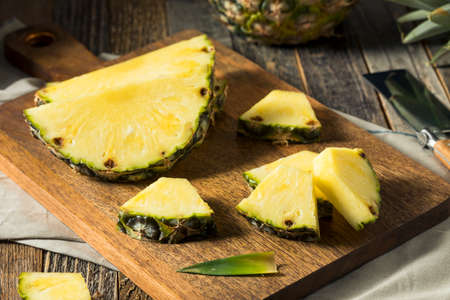 Raw Yellow Organic Pineapple Slices Ready to Eat