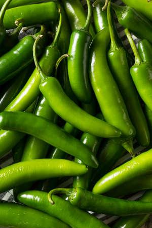Raw Green Organic Serrano Peppers Ready to Use Archivio Fotografico