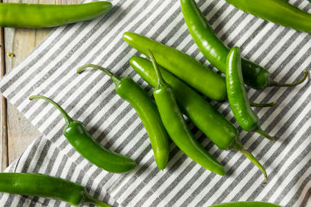Raw Green Organic Serrano Peppers Ready to Use Stock Photo