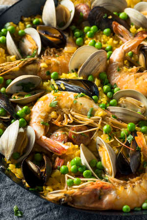 Homemade Spanish Seafood Paella with Prawns Mussels and Clams
