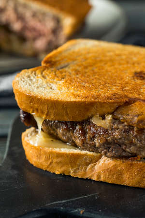 Homemade Cheesy Patty Melt Sandwich with Cheese and Onions Stok Fotoğraf - 97774723