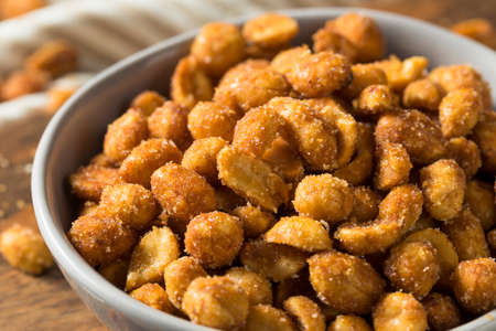 Homemade Honey Roasted Peanuts with Sea Salt Stock Photo