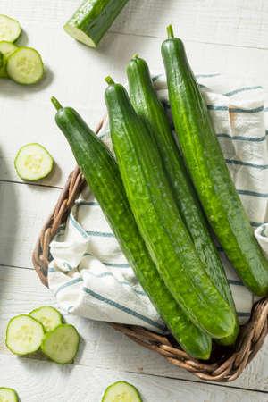 Healthy Organic Green English Cucumbers Ready to Eat