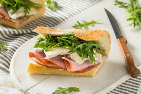 Homemade French Ham and Brie Baguette Sandwich with Arugula