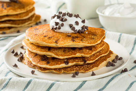 Homemade Chocolate Chip Pancakes with Whipped Cream