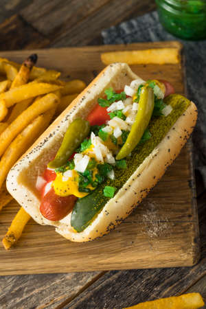 Homemade Chicago Style Hot Dog with Mustard Pickles Relish Tomato and Peppers Stock Photo
